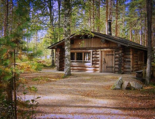 wooden cabin in the woods